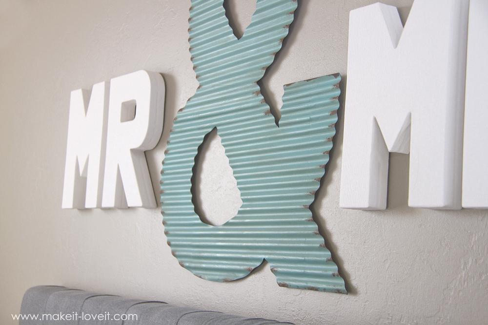 New  Mr u Mrs Wall Display fun master bedroom decor via