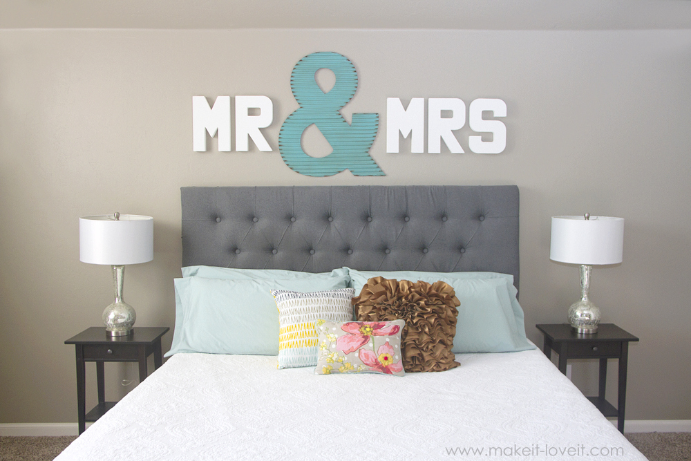 Epic  Mr u Mrs Wall Display fun master bedroom decor via