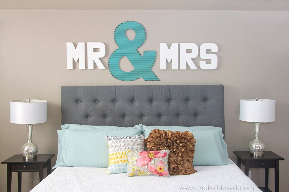 """Mr & Mrs"" Wall Display...fun master bedroom decor! via Make It and Love It"