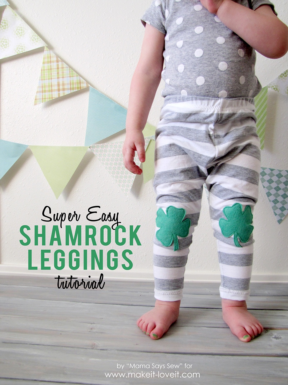 Easy Shamrock Leggings Tutorial | via Make It and Love It
