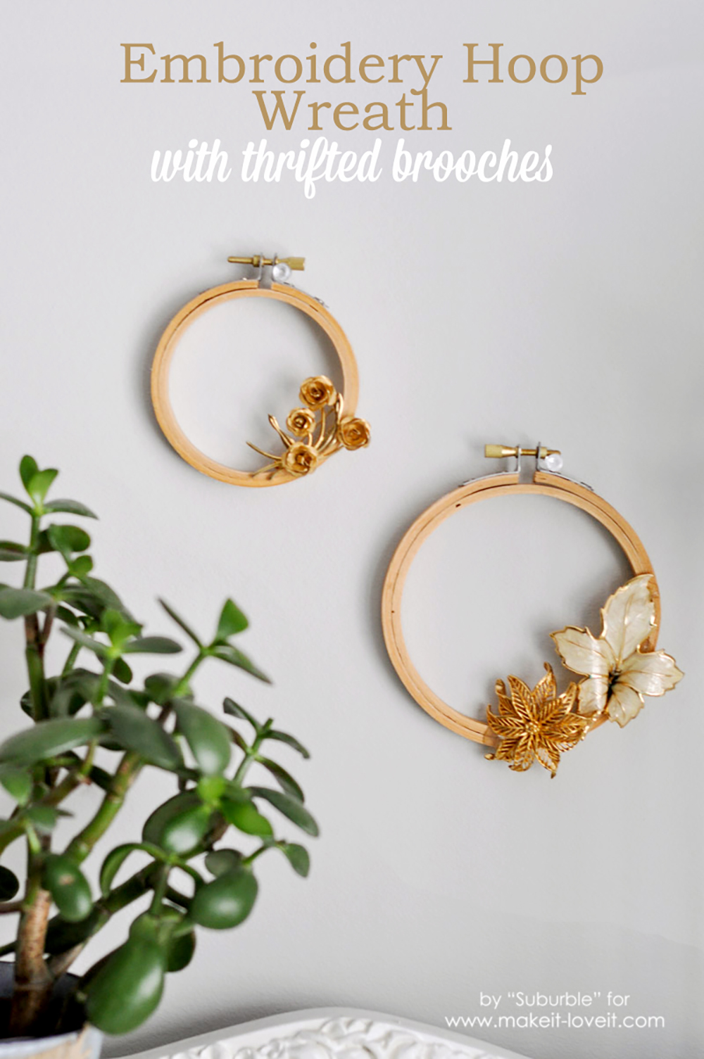 Embroidery Hoop Wreaths (…with Thrifted Brooches)