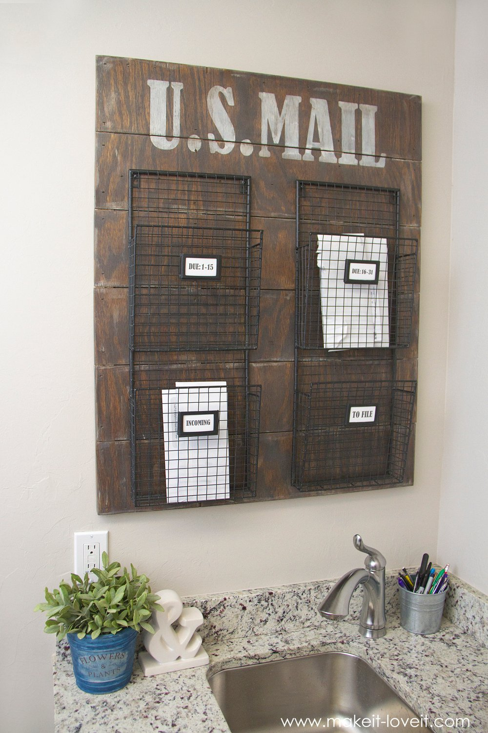 Wall Mounted Mail Organizer…from scrap wood!