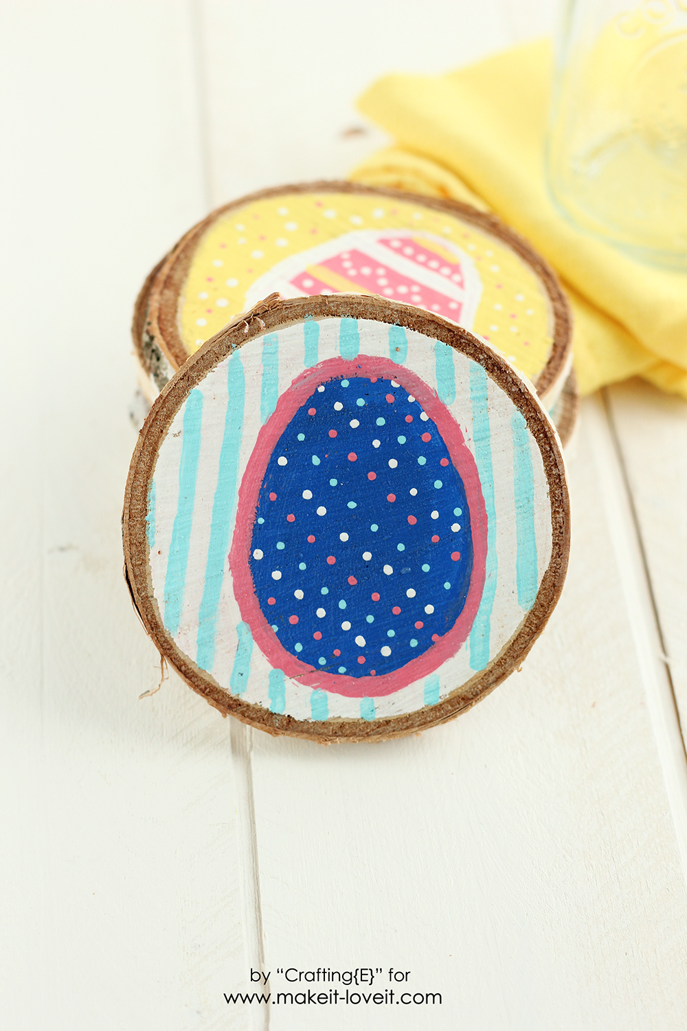 Wood Slice Easter Egg Coasters | via Make It and Love It