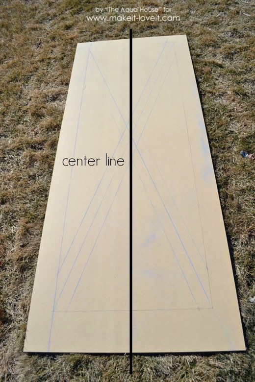 barn door chalk outline center line
