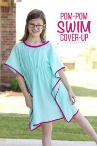 DIY Pom-Pom Swim Cover-Up.....a simple sew, for girls and women both! | via Make It and Love It