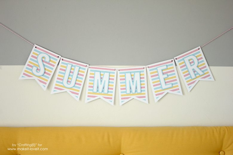 Free 3D PRINTABLE Summer Banner | via Make It and Love It