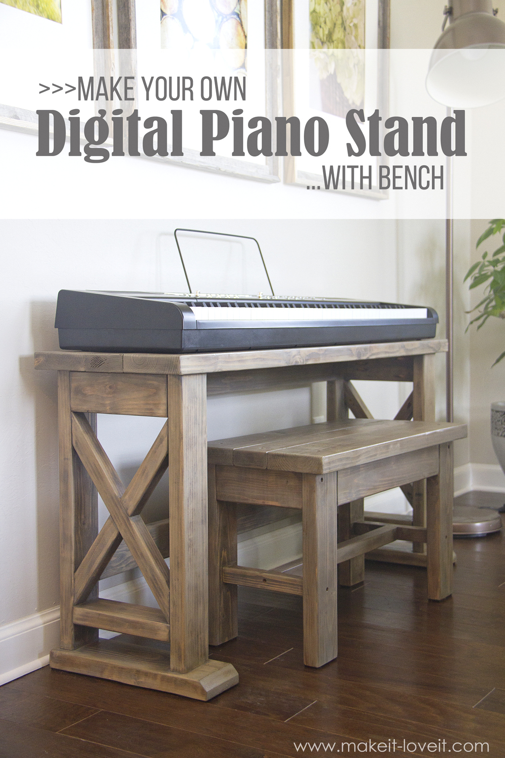 DIY Digital Piano Stand plus Bench (…a $25 project!!)