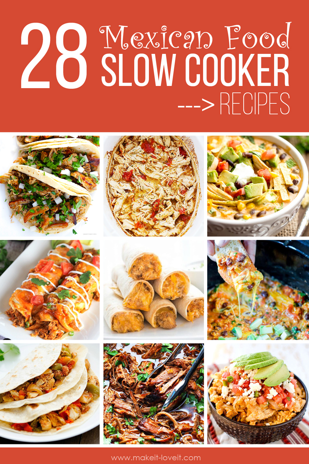 28 Favorite Mexican Food SLOW COOKER Recipes | via www.makeit-loveit.com