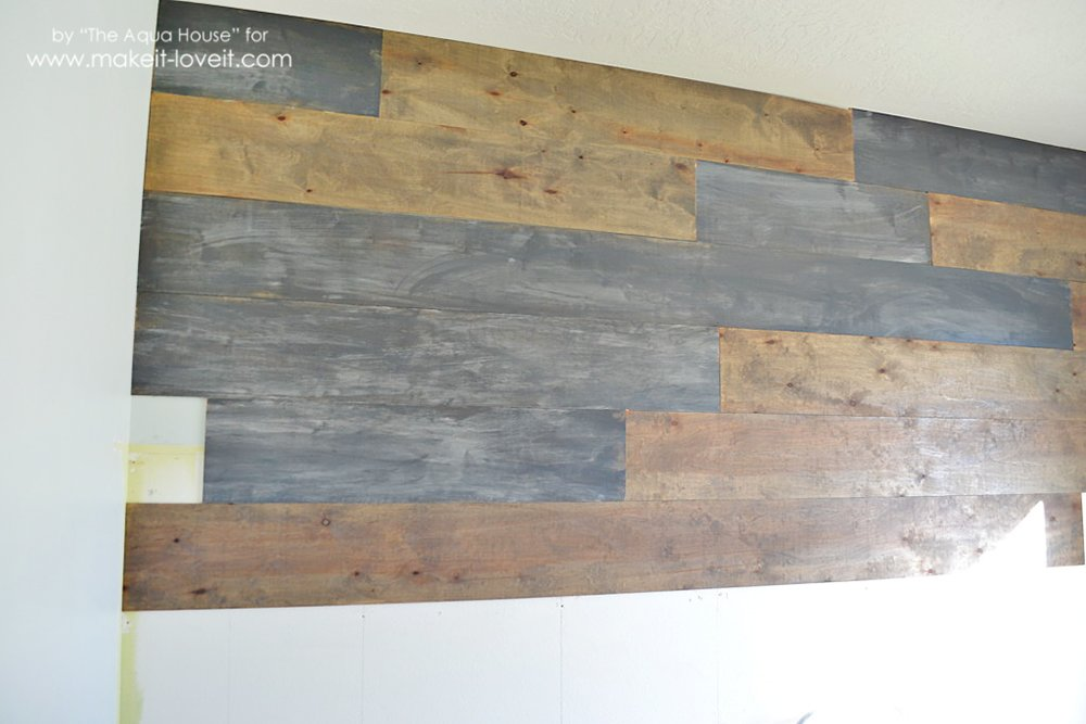 How to make a faux barn wood wall make it and love it for Barnwood plywood