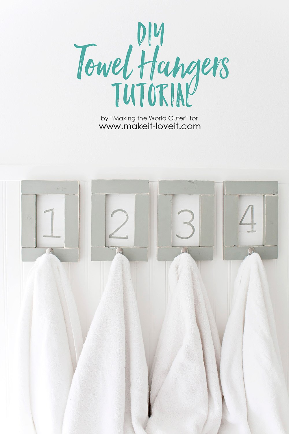 DIY Framed and Numbered Towel Hangers