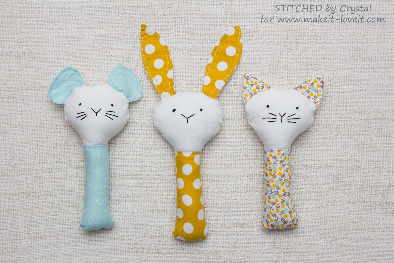 Sew A Plush Rattle For Baby A Bunny Cat Amp Mouse