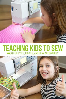 Teaching Kids To Sew, Part 5: Stitch types, sewing on curves, and seam allowances