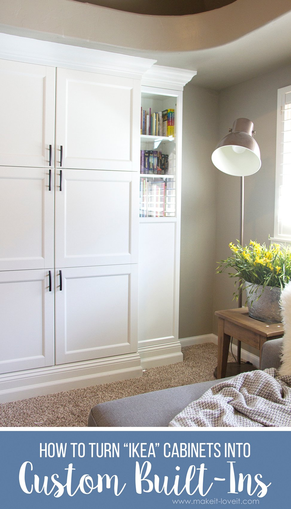 How to Turn Ikea Bookshelves into Custom Built-Ins | via www.makeit-loveit.com