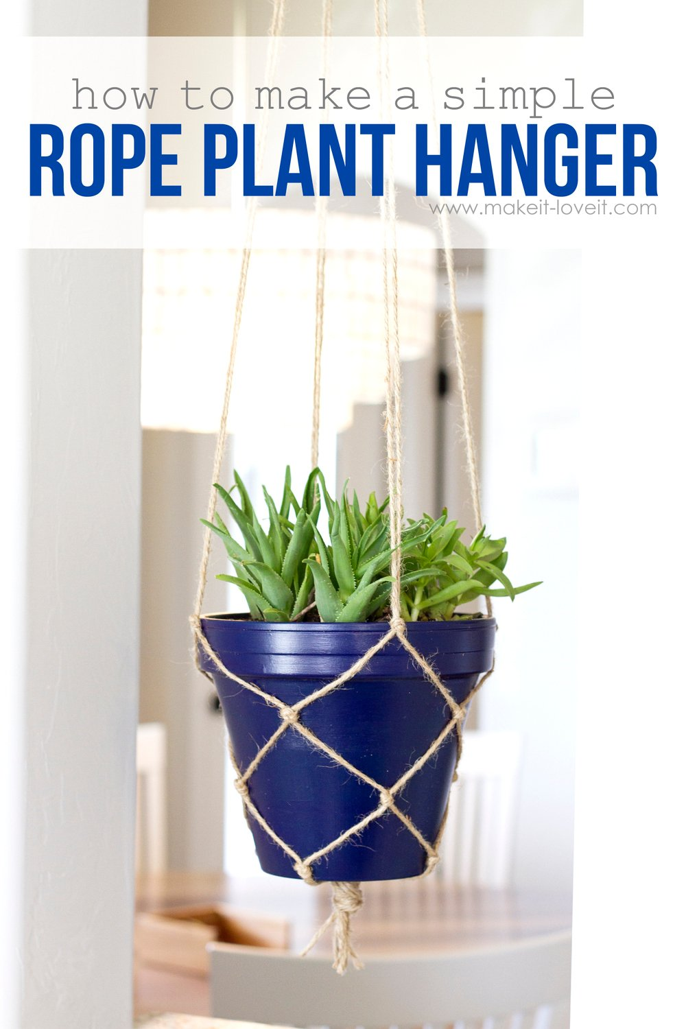 How to make a simple rope plant hanger make it and love it for Easy to keep garden plants