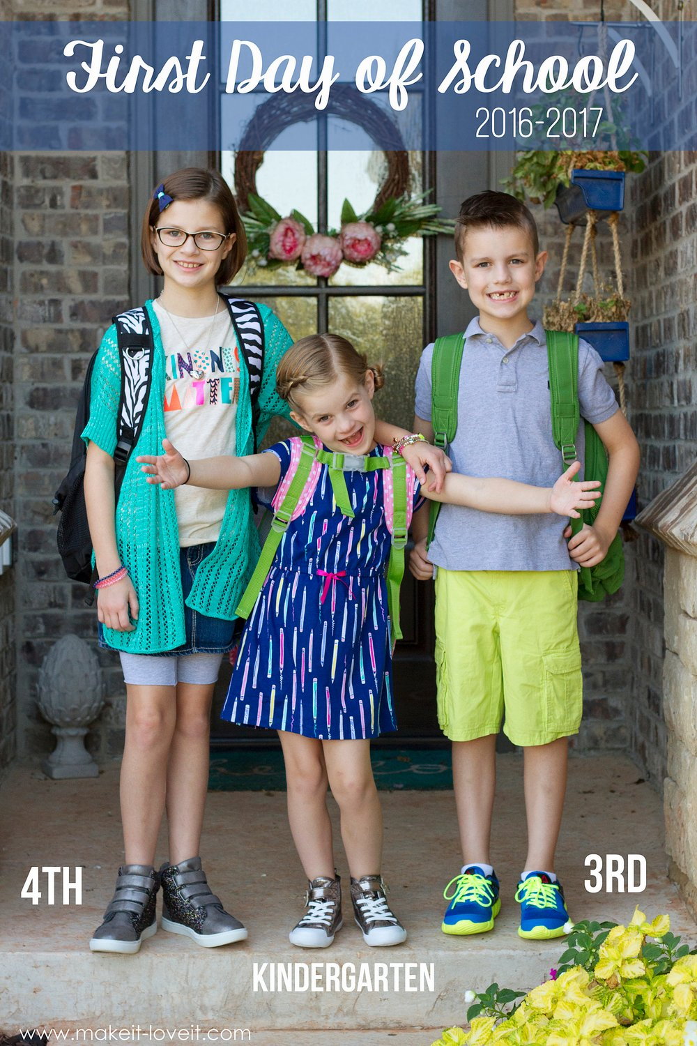 My kids are Back To School…4th, 3rd, and Kinder!!
