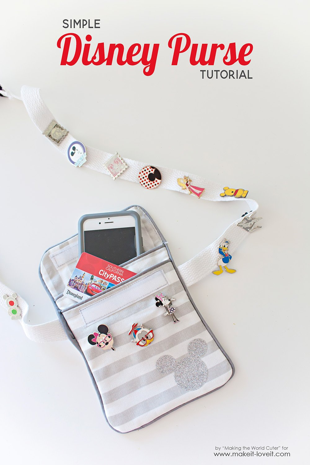 Simple Disney Vacation Purse Tutorial....for trading pins, cell phone, and fast pass holder! | via www.makeit-loveit.com