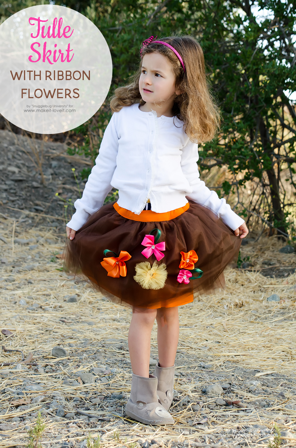 Tulle Skirt with Ribbon Flowers