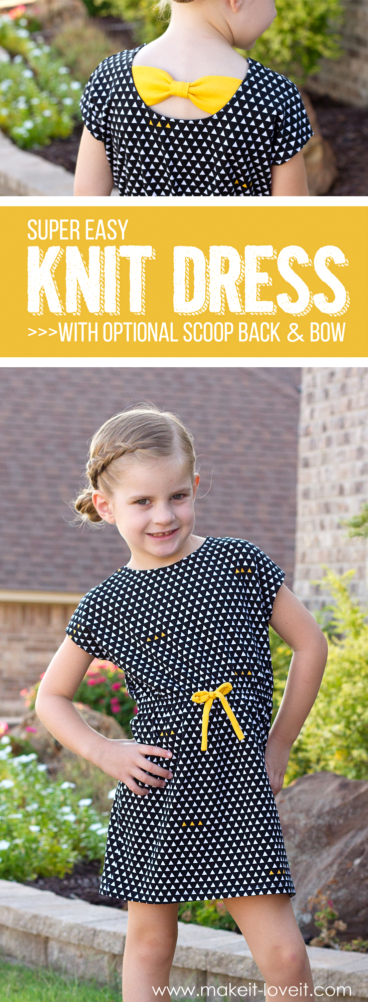Super Easy Knit Dress…with optional Scoop-Back and Bow!