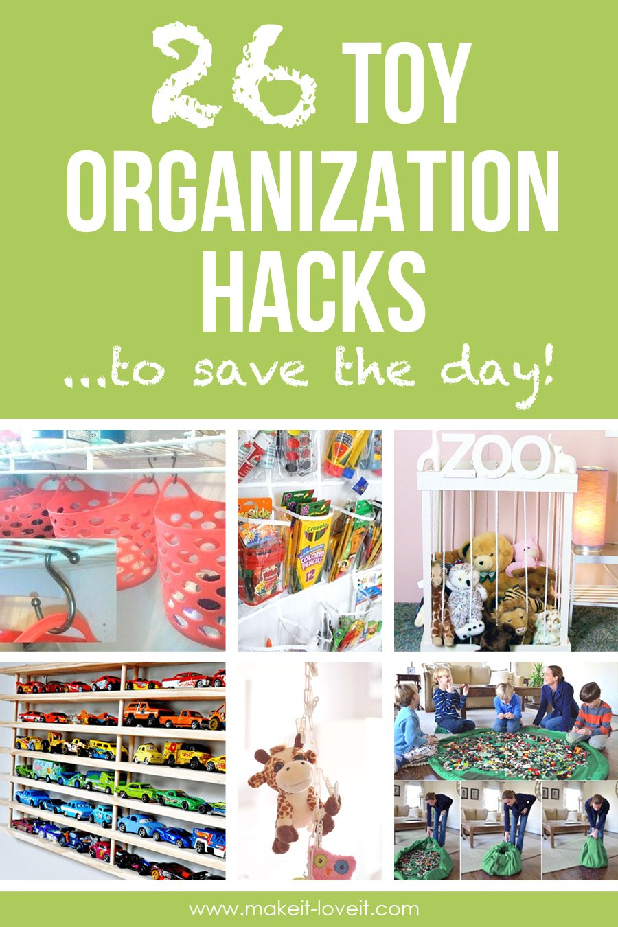 26 Toy Organization Hacks...to Save the Day!! | via www.makeit-loveit.com
