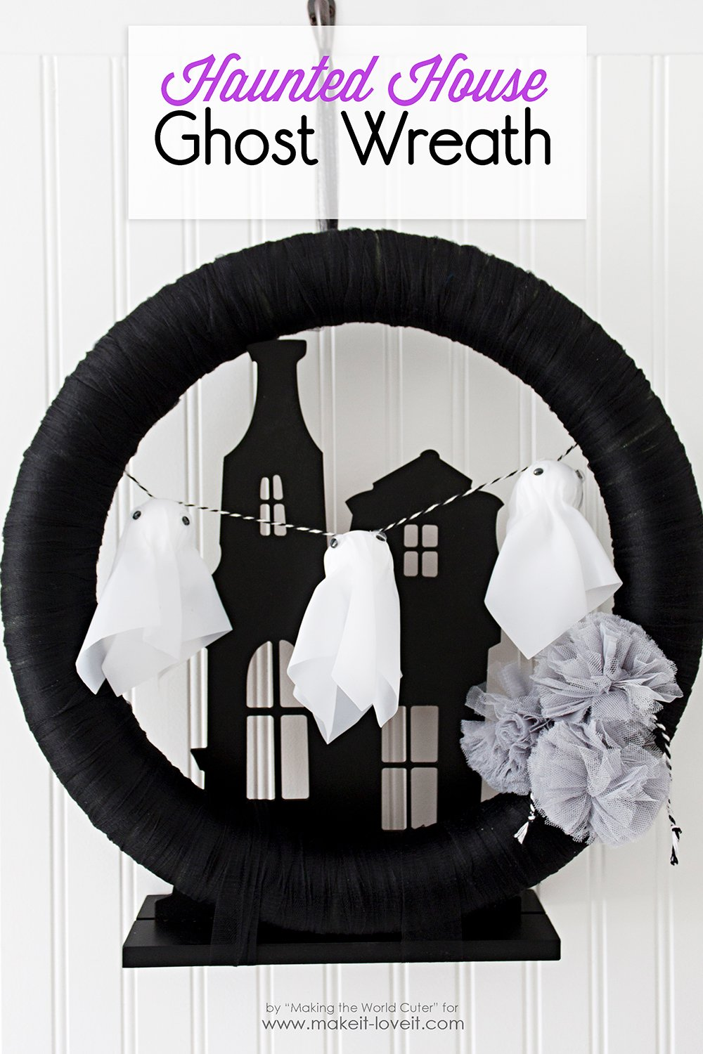 Make a Haunted House Ghost Wreath