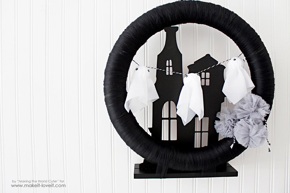 Make a Haunted House Ghost Wreath | via www.makeit-loveit.com