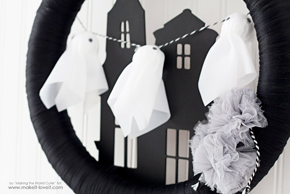 Haunted House Ghost Wreath with items from Target's One Spot