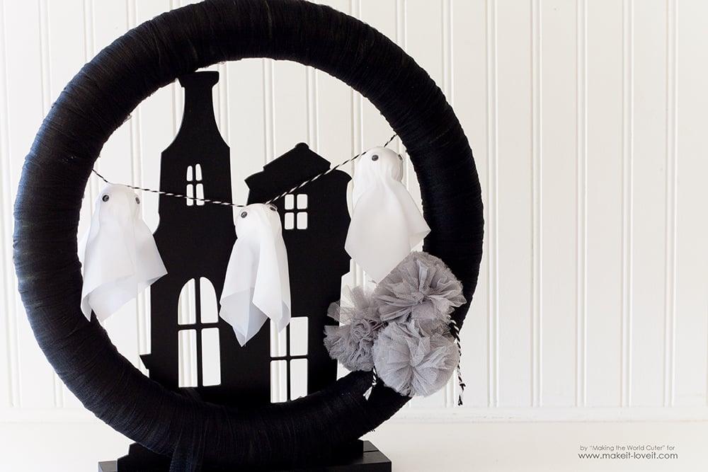 Make a Haunted House Ghost Wreath   via www.makeit-loveit.com