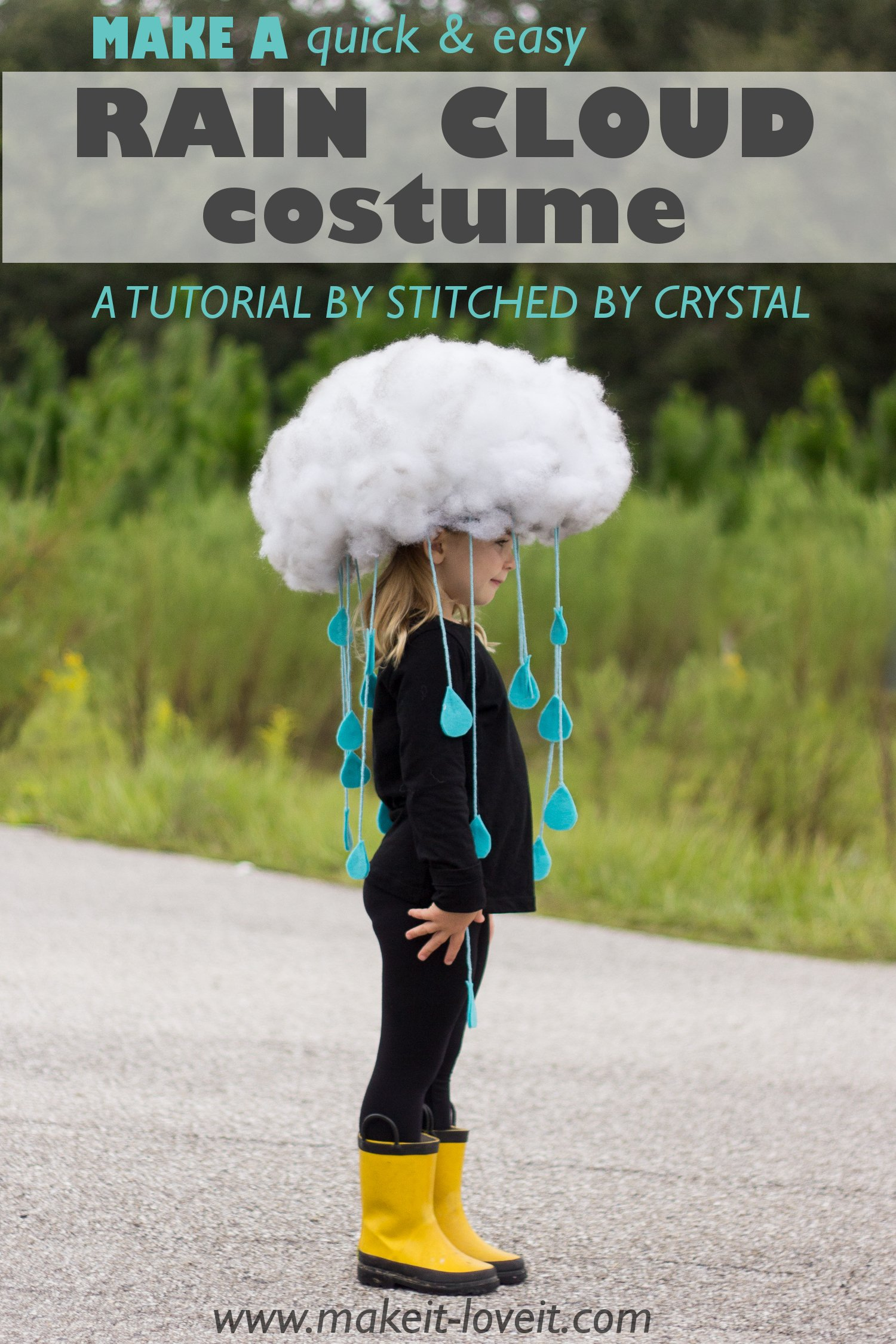 Make a Quick & Easy RAIN CLOUD COSTUME…for all ages!
