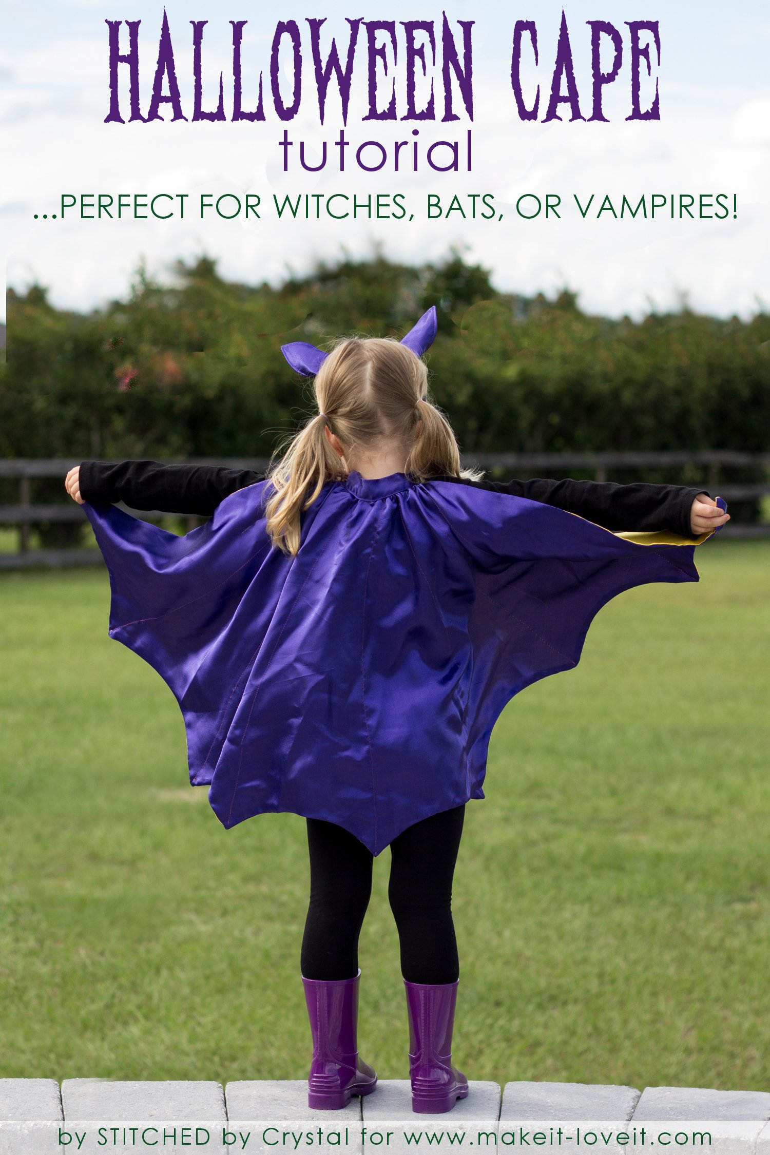 Sew A Reversible Halloween Cape....Perfect for Bats, Witches, and Vampires! | via www.makeit-loveit.com
