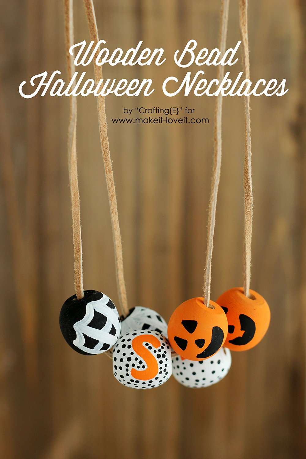 DIY Wooden Bead Halloween Necklaces