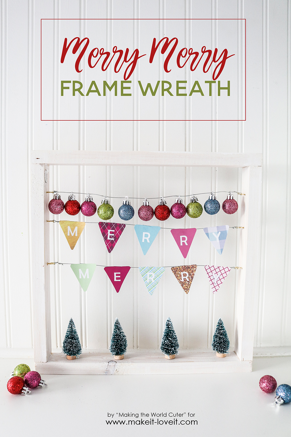 "Easy DIY ""Merry Merry"" Wood Frame Wreath"