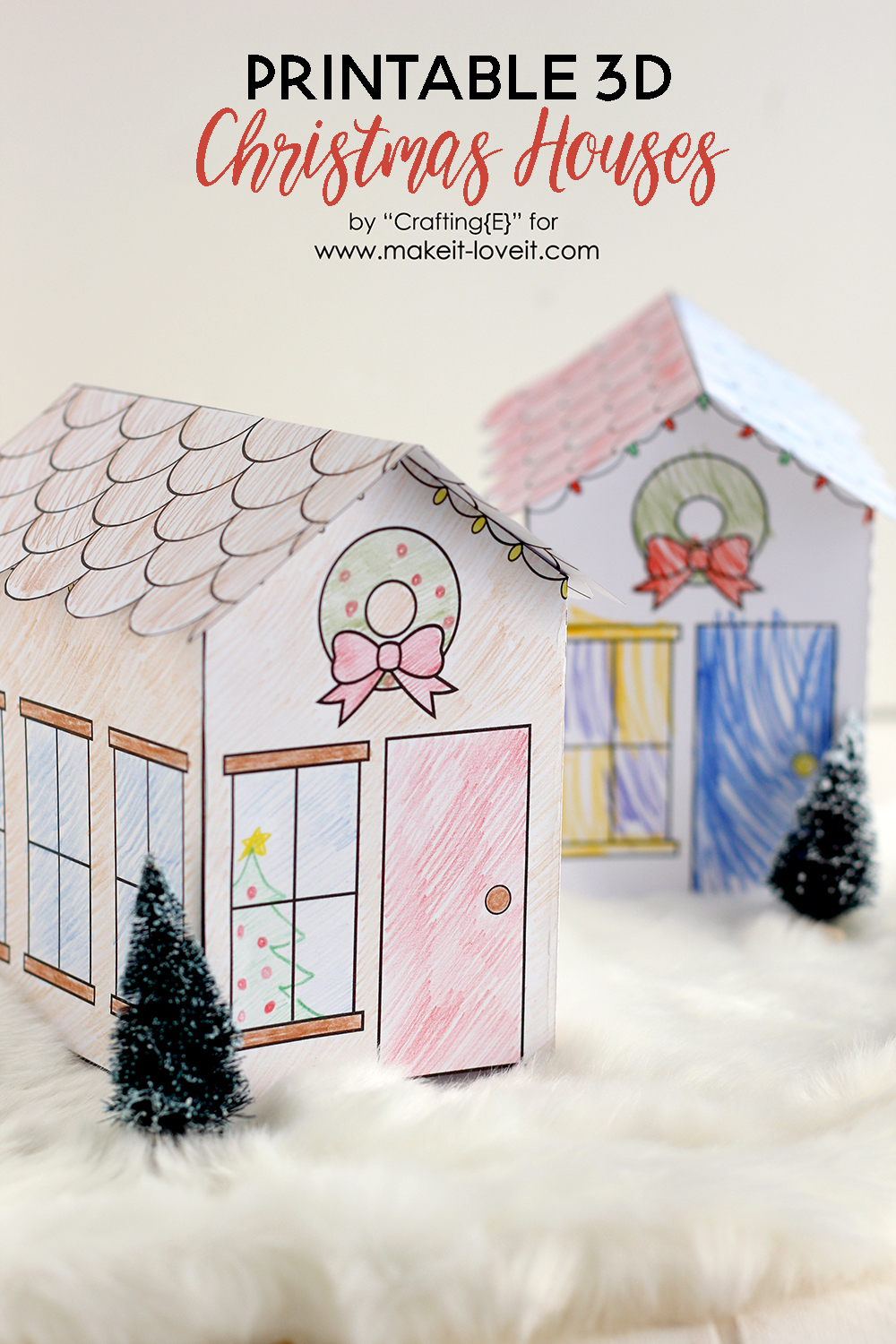 Printable 3D Christmas Houses (…great for kids!)