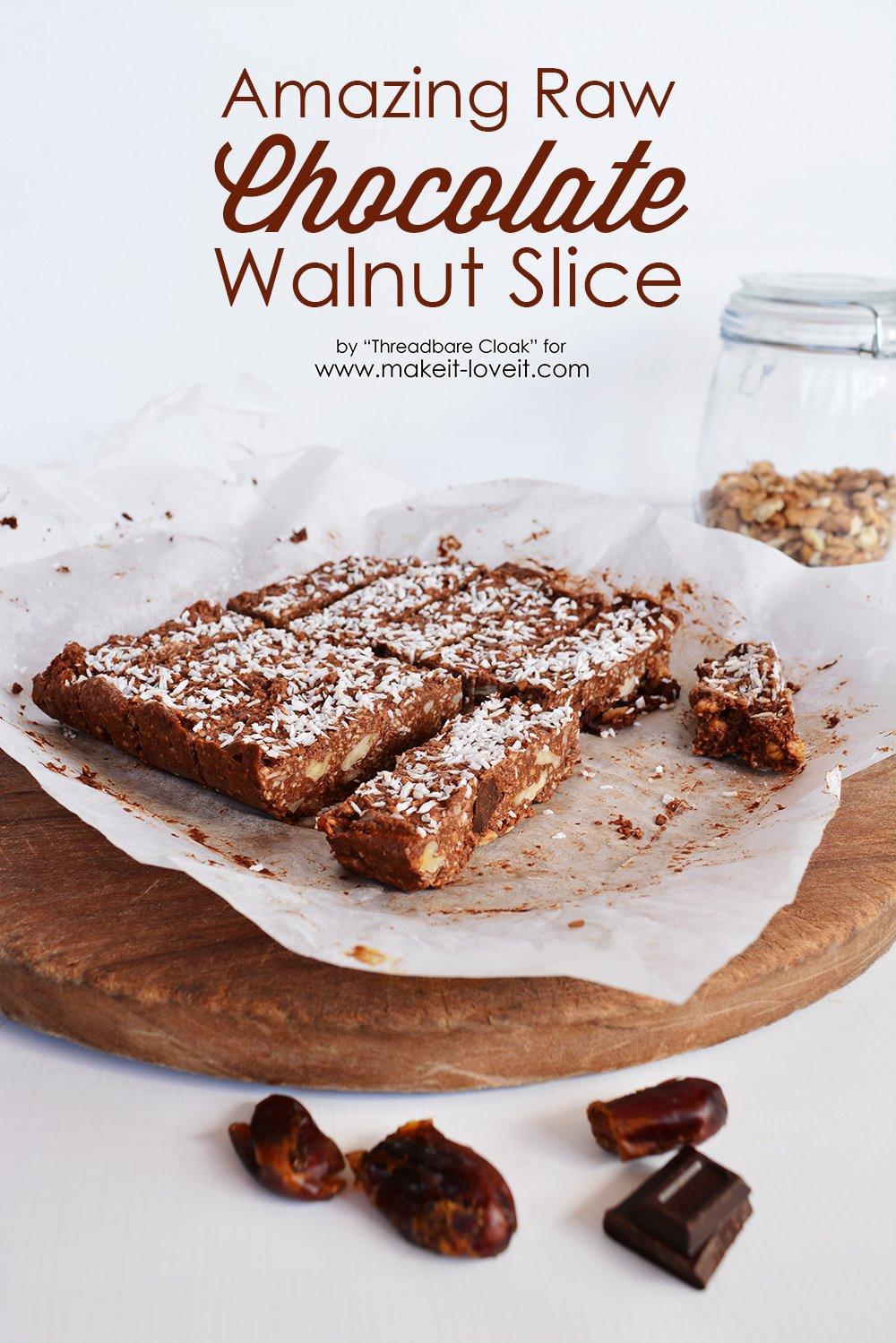 Raw Chocolate Walnut Slice recipe | www.makeit-loveit.com