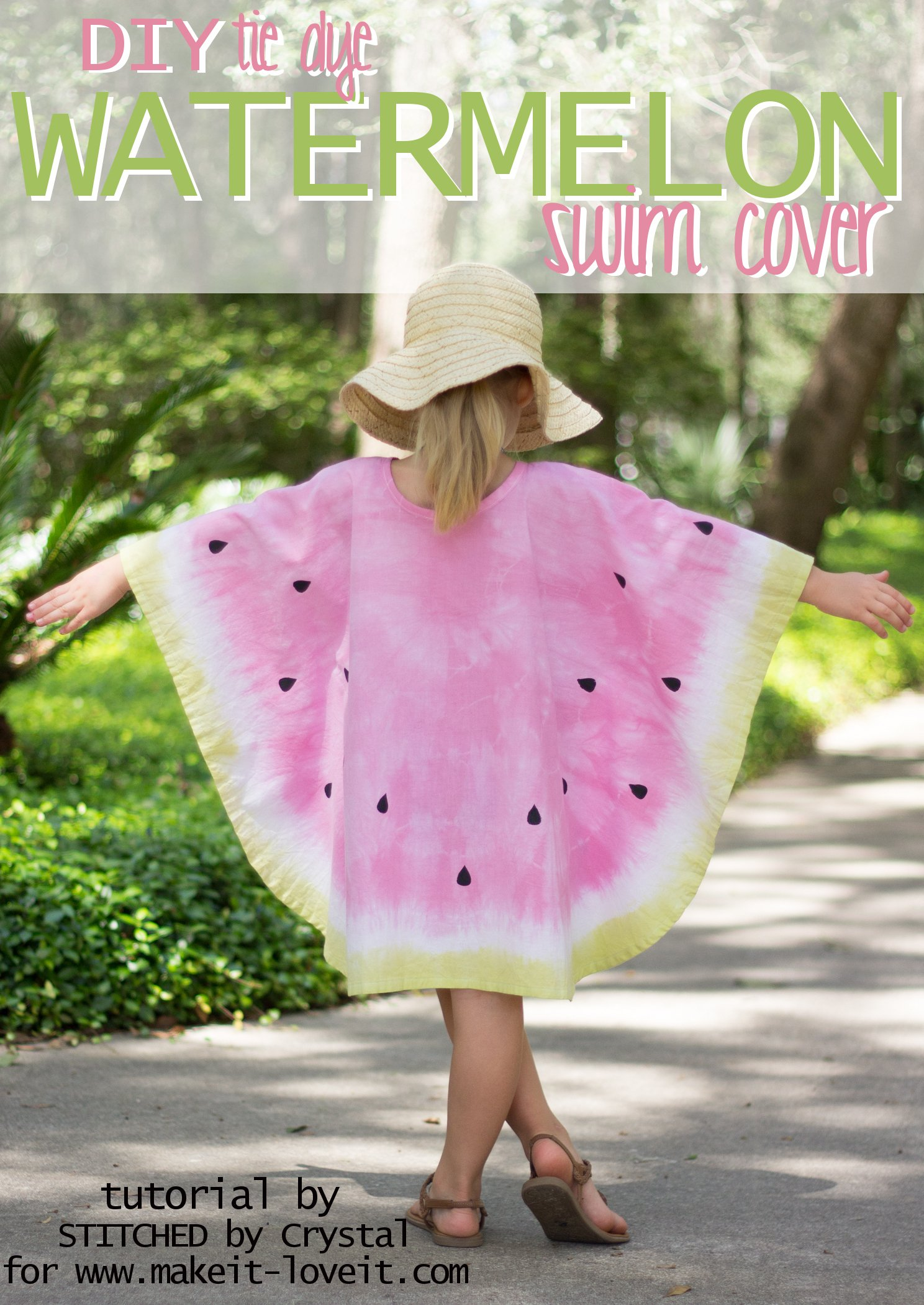 How to sew a Tie-Dye Watermelon Swim Cover! | via www.makeit-loveit.com