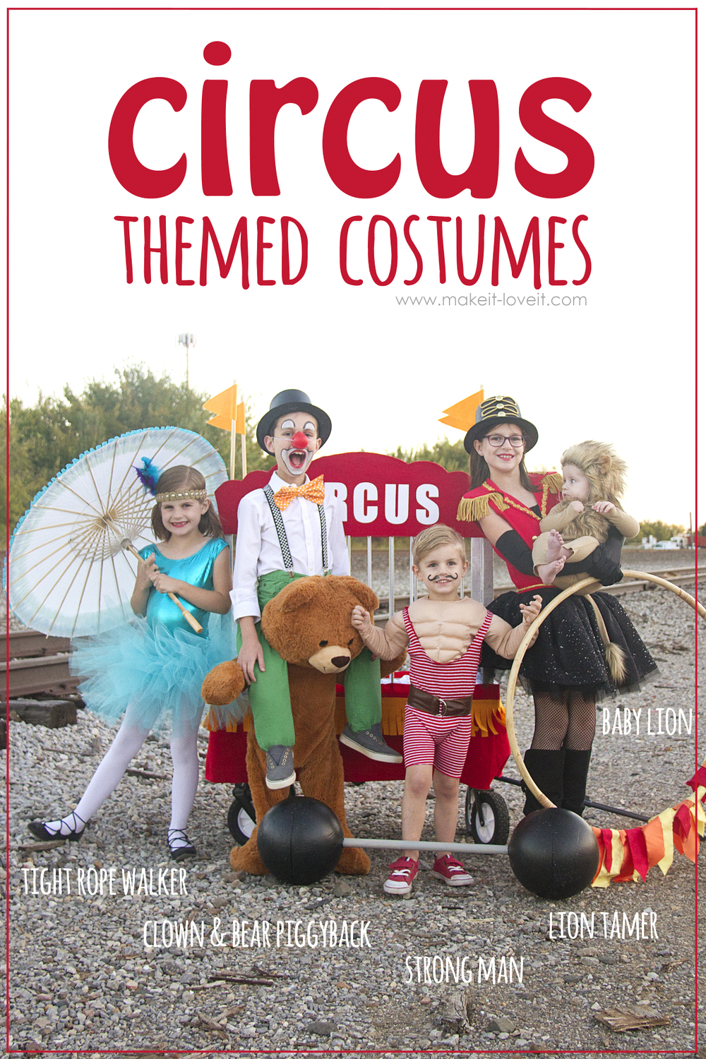 DIY CIRCUS Themed Costumes...all 5 KIDS (plus a VIDEO)!!!   via www.makeit-loveit.com
