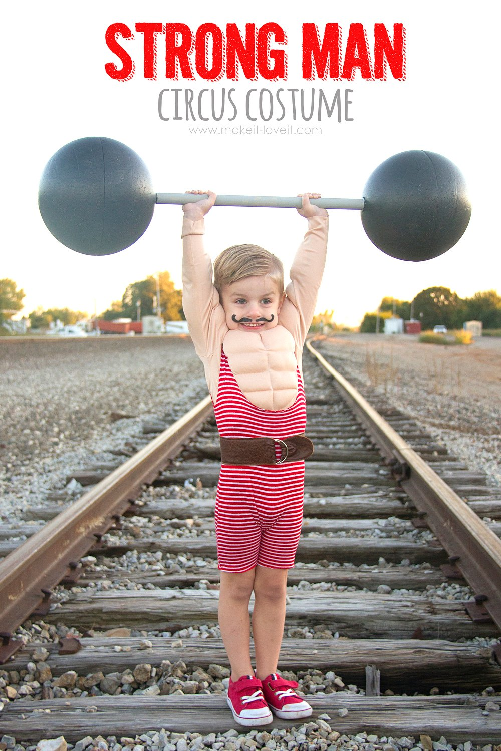 How to make a Strong Man Circus Costume...including a muscle shirt! | via www.makeit-loveit.com #halloweencostume #DIY